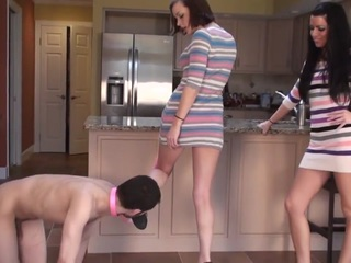 The slave is sat on by Sophie while Crystal makes it lick her shoes. The girls then enjoy making the slave rub their feet and suck their toes. Crystal is just brutal with the verbal humiliation.