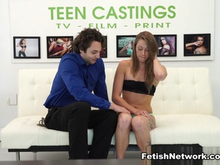 Wish they all could be California girls! Especially when they're as naughty as 19-year-old Kirsten Lee. Oh, free-spirited guitar-playing Kirsten doesn't want to get naked on our casting couch, at first, but Master Brad systematically humiliates the little flake with every play in the BDSM handbook until she is transformed into a complete submissive, filled with cock in every hole, and splattered in hot cum. After making her beg for the modeling gig, he ties her wrists with rope and skull fucks her so he can get  a good deepthroat blowjob. Next he slaps her face with his hard dick and his hand, and then finger ducks her with two fingers fast and hard. Rough sex means never having to stop, and Brad doesn't as he works over Kirsten's love holes and intermittently spanks her ass red. Kirsten is a loud and enthusiastic slave and has numerous orgasms that leave her breathless as Brad dominates her. Some very hot and hard missionary fucking is followed by doggie style and lively cowgirl and reverse cowgirl. The scene ends with Kirsten getting her face glazed with a massive load of Brad's cum.