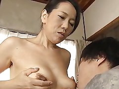 Japanese mom making son practice sex