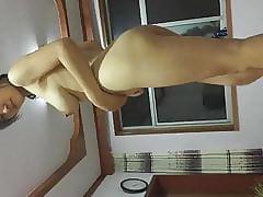 Amateur Asian Wife Rides Then Dances